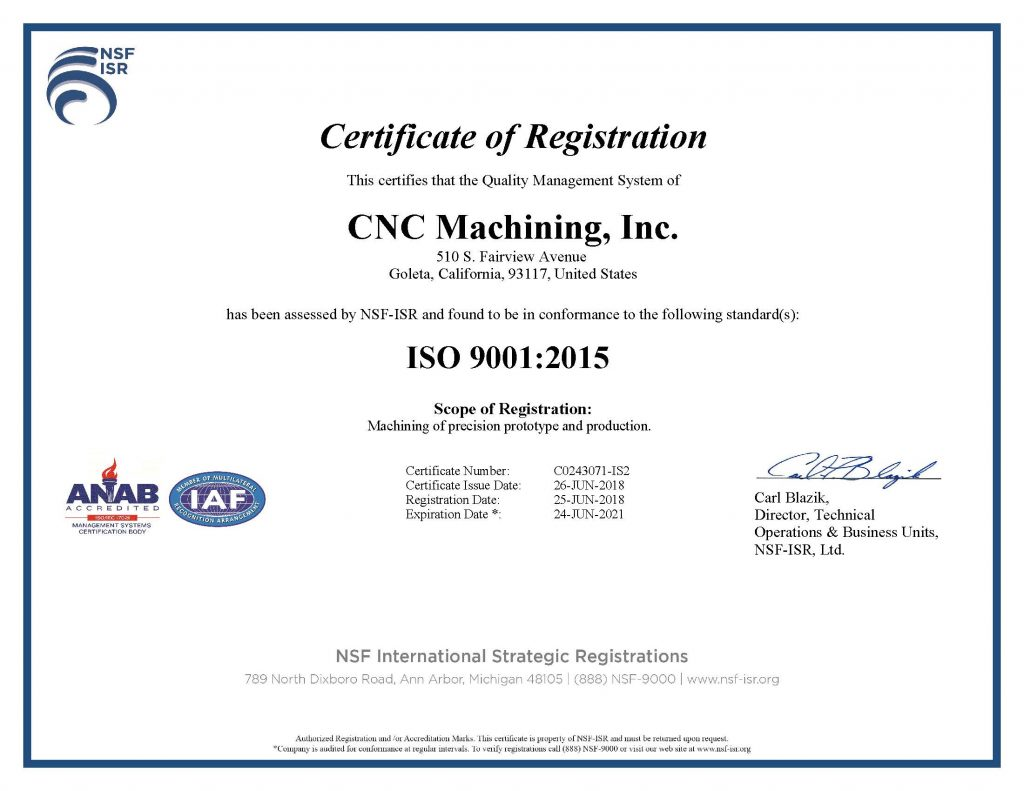 CNC MACHINING ISO 9001 2015 CERTIFICATE - 2