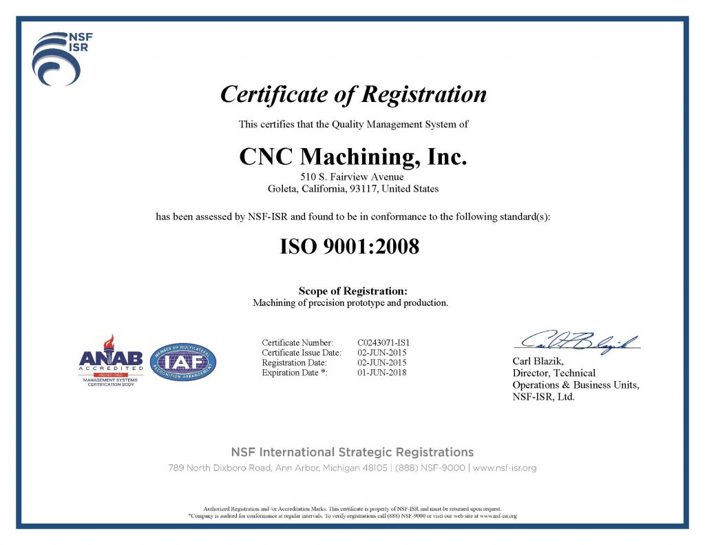 CNC Machining, Inc. ISO 9001-2008 Certificate