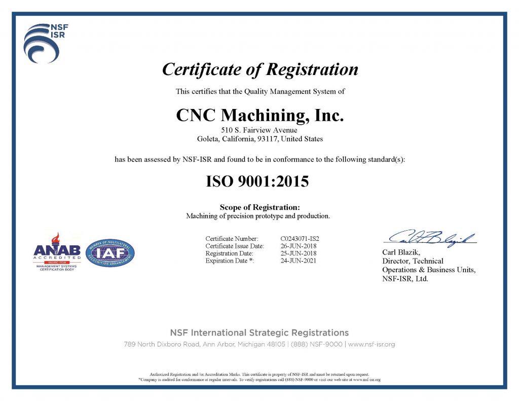 CNC MACHINING ISO 9001 2015 CERTIFICATE - 2